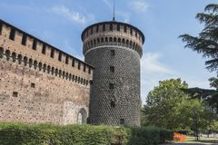 Sforza Castle in Milan, Italy. Castello Sforzesco Sforza Castle in Milano , Italy . Europe. Defensive walls stock photos