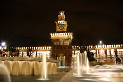 Sforza Castle in Milan, Italy at night Royalty Free Stock Photography