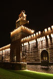Sforza Castle in Milan, Italy at night Royalty Free Stock Image