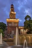 Sforza Castle, Milan. The main keep of Sforza Castle (Castello Sforzesco) in Milan, Italy at night Royalty Free Stock Image
