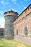Sforza castle, milan. Tower of fortication, sforza castle of milan stock photo