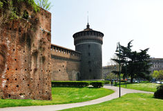 Sforza Castle tower Royalty Free Stock Image