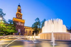 Sforza Castle at twilight in Milan, Italy. Royalty Free Stock Images