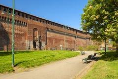 Sforza-Schloss in der Stadt von Mailand stockfotografie