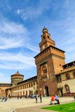 Sforzakasteel Castello Sforzesco in Milaan royalty-vrije stock afbeeldingen