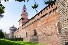 Sforzakasteel het Italiaans: Castello Sforzesco in Milaan, Italië Royalty-vrije Stock Afbeelding