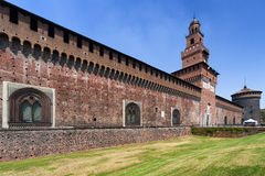 Sforzakasteel in Milaan, Italië Royalty-vrije Stock Foto