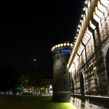 Sforzesco Castle. Night view of front tower at Sforzesco Castle in Milan, Italy Royalty Free Stock Photography