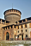 Fortified tower. Round fortified tower from the interior of Sforzesco castle of Milan Royalty Free Stock Image