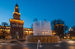 Sforzesco castle in Milan. Sforzesco Castle by night in Milan, Italy Stock Photography