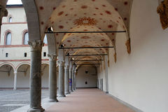 Sforzesco castle in milan stronghold court Royalty Free Stock Photo