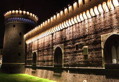 Sforzesco castle by night stock image