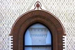 Sforzesco di Castello in finestra di una Immagini Stock
