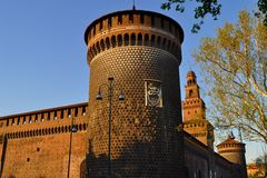 sforzesco för castelloil milano Arkivfoto