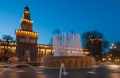 Sforzesco slott i Milan Arkivbild