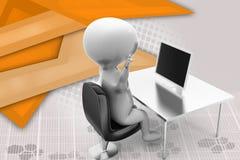 sforzo dell'uomo 3d con l'illustrazione del computer portatile Immagine Stock