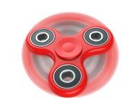 Sforzo rosso del filatore del dito di irrequietezza, giocattolo di sollievo di ansia, nel moto 3D rendono, isolato su fondo bianc illustrazione vettoriale