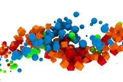 sforzo variopinto astratto 3d delle sfere e dei cubi Fotografie Stock Libere da Diritti