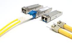 SFP模块光纤 免版税图库摄影