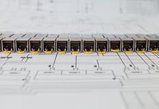 SFP-de netwerkmodules voor netwerk schakelen de blauwdruk in stock foto