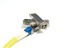 SFP enhet med optisk lappkabel för fiber Arkivfoton