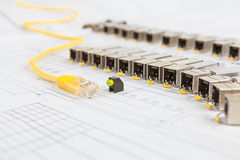 SFP network modules for network switch, patch cord and diod Royalty Free Stock Photo