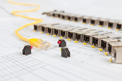 SFP network modules for network switch, patch cord and diodes Stock Photos