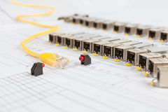 SFP network modules for network switch, patch cord and diodes Stock Images