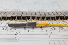 SFP network modules for network switch  and patch cord Stock Image
