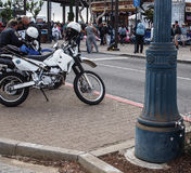 SFPD Dirtbike. The Sanfrancisco Police department  motorcycle  division  is utilizing  dual sport motorcycles to combat biker gangs Royalty Free Stock Photography