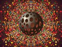 Sfär med hål mot färgrik bakgrund Arkivfoto