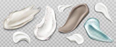 Sfreghi o scremi spalma il prodotto di cura di pelle dell'insieme del campione illustrazione di stock