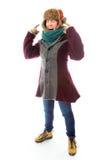 Sfrustowana młoda kobieta w ciepłej odzieży fotografia stock