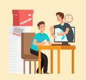 Sfrustowany mężczyzna workaholic z laptopem i gniewnym szefem Zapracowany personelu i ostatecznego terminu wektoru pojęcie ilustracji