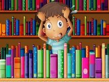 Sfrustowany młody człowiek w bibliotece ilustracji