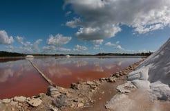 Sfruttamento della salina in Mallorca largamente Fotografia Stock Libera da Diritti