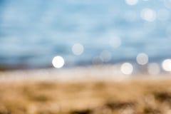 Sfuocatura blu astratta della spiaggia Immagini Stock Libere da Diritti