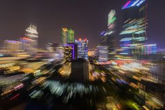 Sfuocatura dello zoom di Saigon Ho Chi Minh Cityscape Nightlife fotografia stock libera da diritti