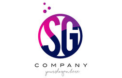 SG S G Circle Letter Logo Design with Purple Dots Bubbles Stock Image