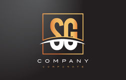 SG S G Golden Letter Logo Design with Gold Square and Swoosh. Stock Image