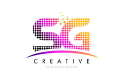 SG S G Letter Logo Design with Magenta Dots and Swoosh Stock Photo