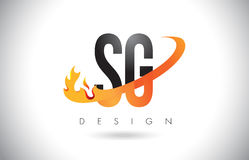 SG S G Letter Logo with Fire Flames Design and Orange Swoosh. SG S G Letter Logo Design with Fire Flames and Orange Swoosh Vector Illustration Royalty Free Stock Images