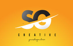 SG S G Letter Modern Logo Design with Yellow Background and Swoo. SG S G Letter Modern Logo Design with Swoosh Cutting the Middle Letters and Yellow Background Stock Photo