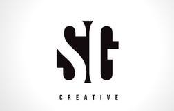 SG S G White Letter Logo Design with Black Square. Stock Images