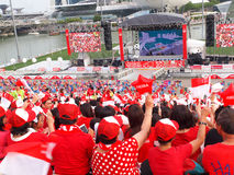 SG50 - Singapore National Day. Singaporean celebrating the Nation's 50th Birthday (Golden Jubilee Royalty Free Stock Photography
