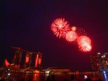 SG50 - Singapore's Golden Jubilee 2015 Fireworks Display Stock Photo