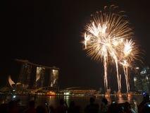 SG50 - Singapore's Golden Jubilee 2015 Fireworks Display Stock Image