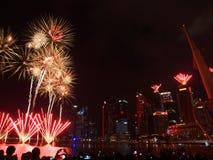SG50 - Singapore's Golden Jubilee 2015 Fireworks Display Stock Photos