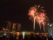 SG50 - Singapore's Golden Jubilee 2015 Fireworks Display Stock Images