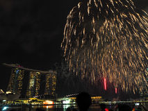 SG50 - Singapore's Golden Jubilee 2015 Fireworks Display Stock Photo